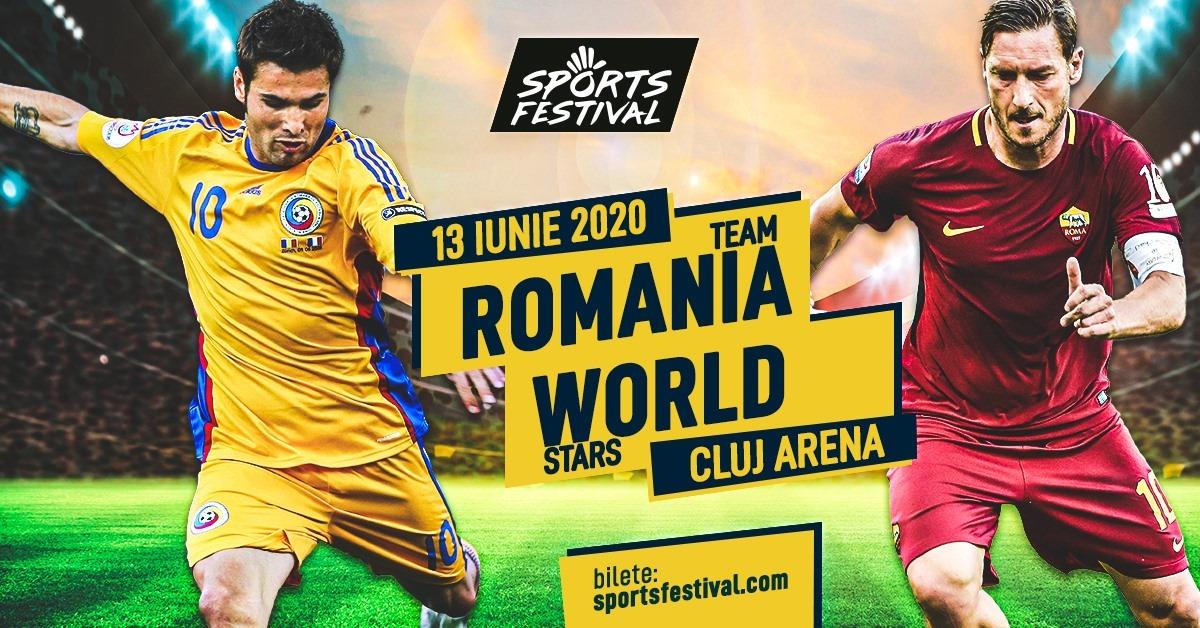 Meci între România şi o selecţionată mondială, la Sports Festival, o partidă de retragere a lui Adrian Mutu, cu participarea lui Pirlo, Totti și Ibrahimovic