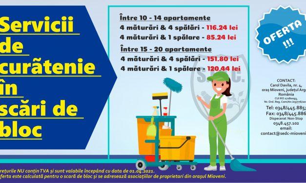 (P) S.Ed.C Mioveni prestează servicii de curățenie pe scara blocului