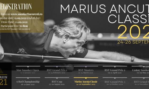 Săptămâna viitoare are loc Turneul de snooker Marius Ancuţa Classic – ediţia a patra